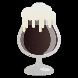 Cerveza vaso espuma oscuro plano