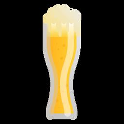 Cerveza vaso espuma luz plana