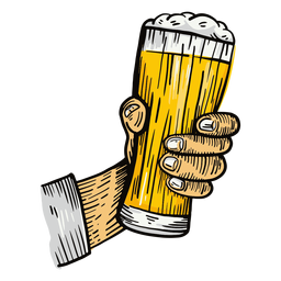 Beer glass hand illustration