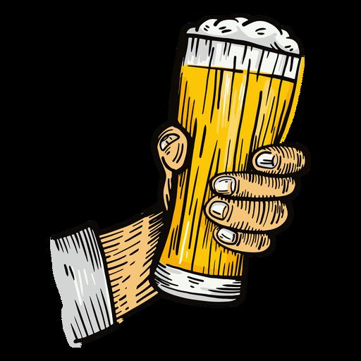 Beer glass hand illustration Transparent PNG