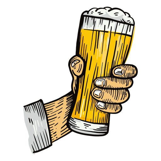 Ilustración de mano de vaso de cerveza Transparent PNG