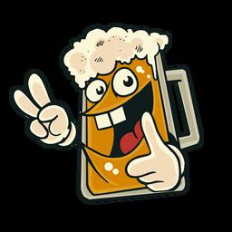 Etiqueta engomada de la insignia de la sonrisa del vaso de cerveza