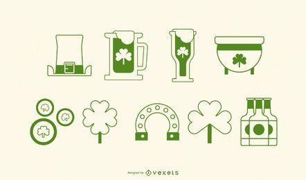 Conjunto de ícones de traço de dia de São Patrício