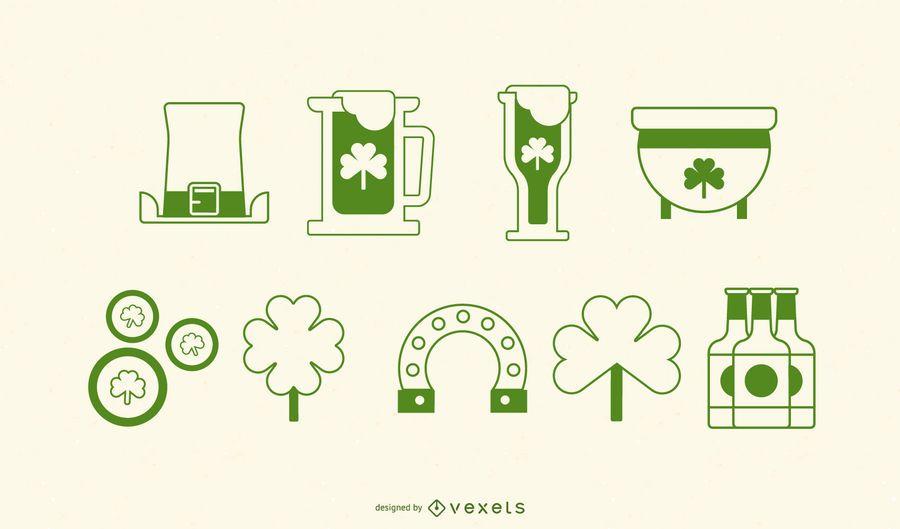 Conjunto de ícones de AVC do dia de São Patrício