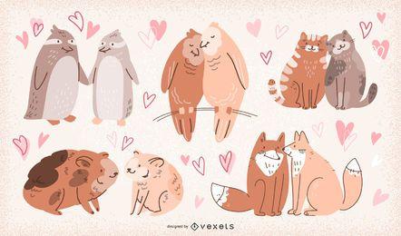 Conjunto de ilustração de casais de animais do dia dos namorados