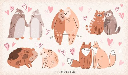 Valentinstag-Tierpaar-Illustrations-Satz