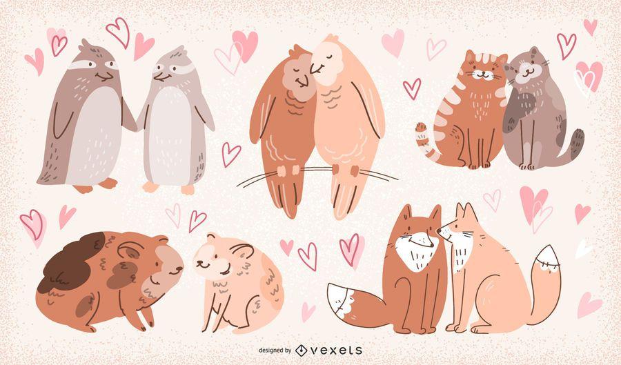 Valentine's Day Animal Couples Illustration Set