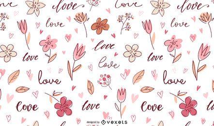 Diseño de patrón de Doodle de amor