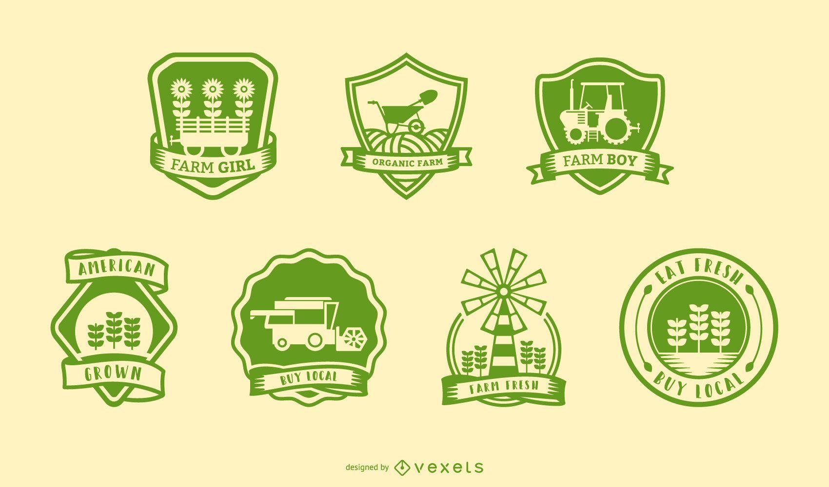 Conjunto de insignias de granja vintage