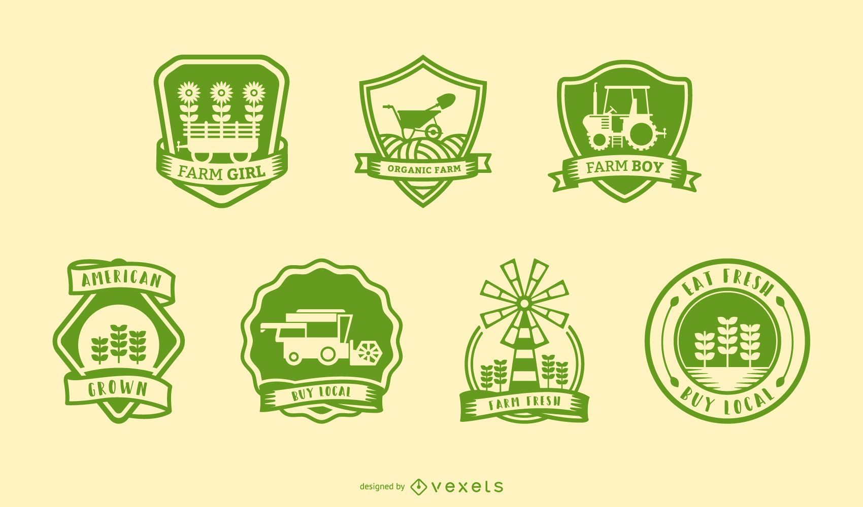 Vintage farm badges set