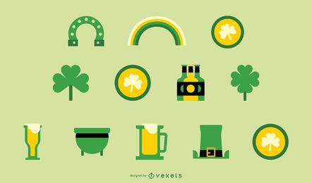 St patricks day flat icon set