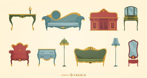 Conjunto de móveis vitorianos