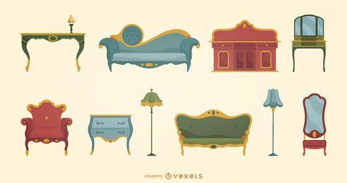 Conjunto plano de muebles victorianos