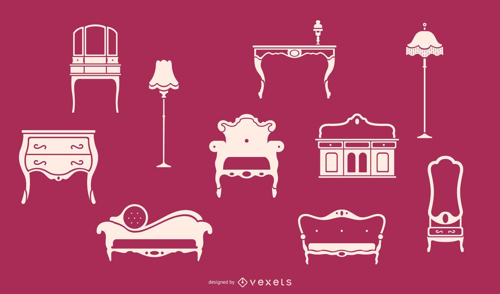 Conjunto de muebles victorianos