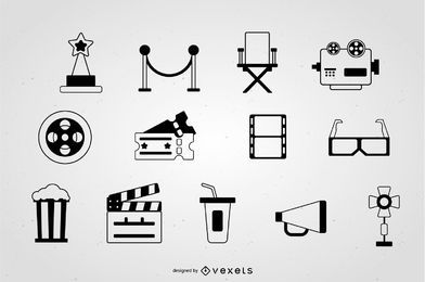 Coleção de traços de ícone de cinema