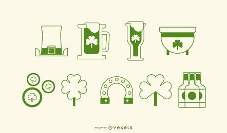 St patricks day stroke icon set