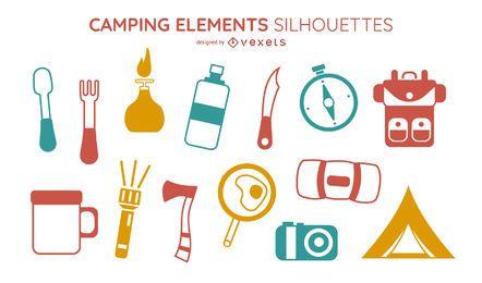 Coleção de elementos de acampamento