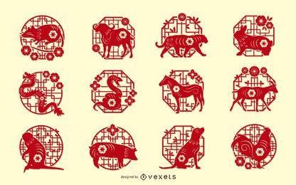 Conjunto de Design de Corte de Papel do Zodíaco Chinês