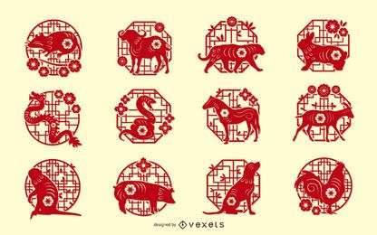 Conjunto de diseño de papercut del zodiaco chino