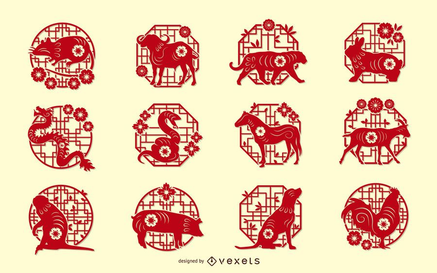 Chinese Zodiac Papercut Design Set