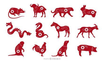 Conjunto de design de animais cortados em papel do zodíaco chinês