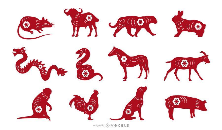 Conjunto de diseño de animales de Papercut del zodiaco chino