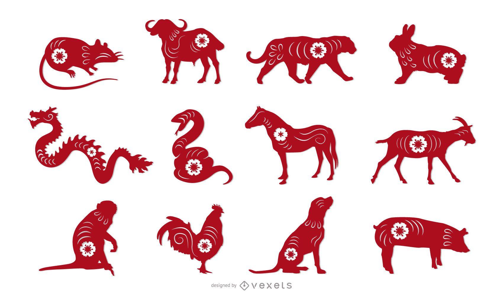 Chinese Zodiac Papercut Animal Design Set