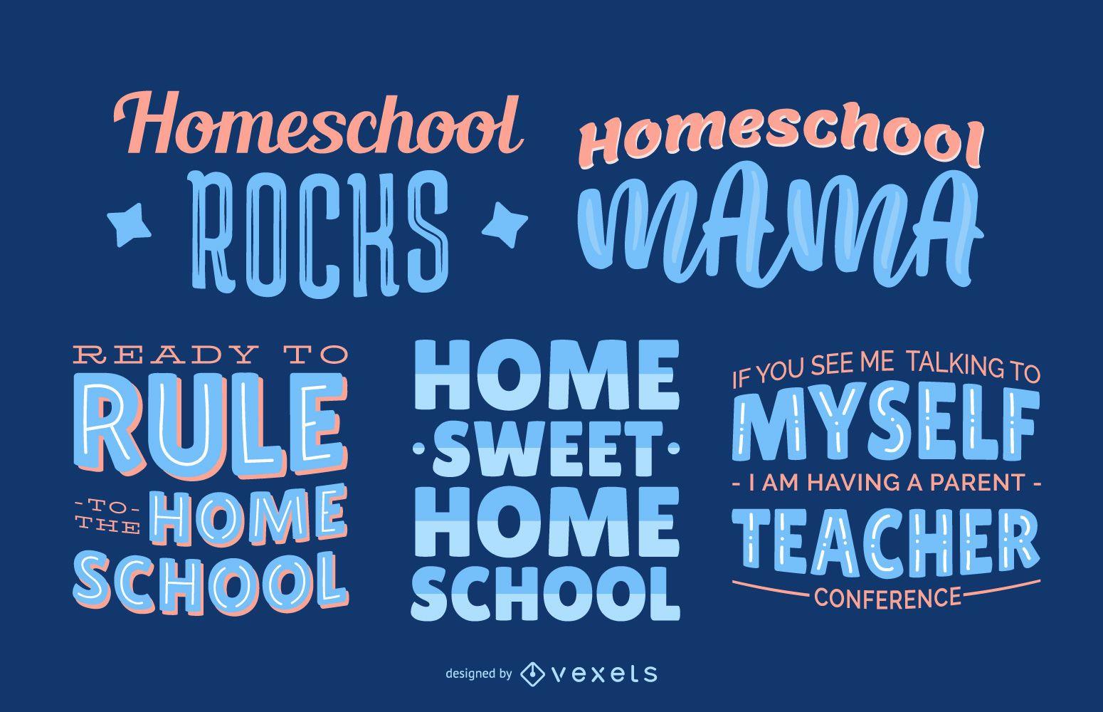 Conjunto de letras de educación en el hogar