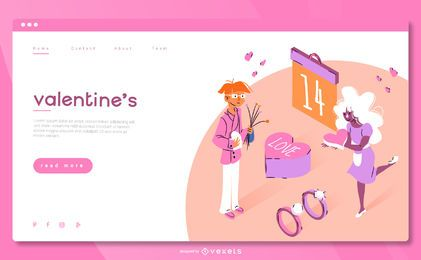 Plantilla web isométrica de San Valentín