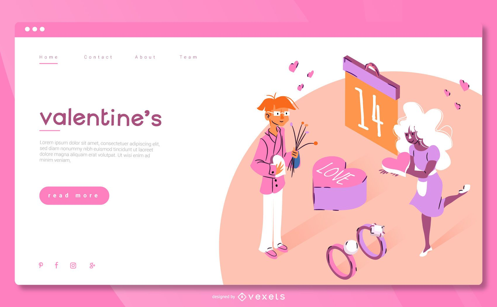 Valentine's Day Isometric Web Template