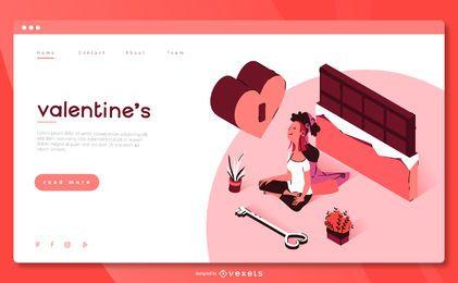 Diseño isométrico de la página de destino de San Valentín
