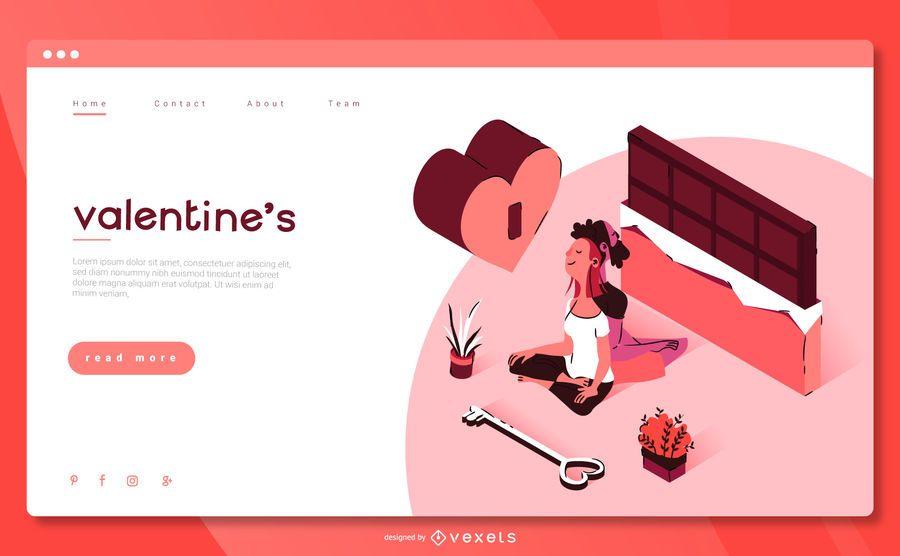 Valentine's Landing Page Isometric Design