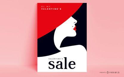 Design de cartaz de venda de dia dos namorados