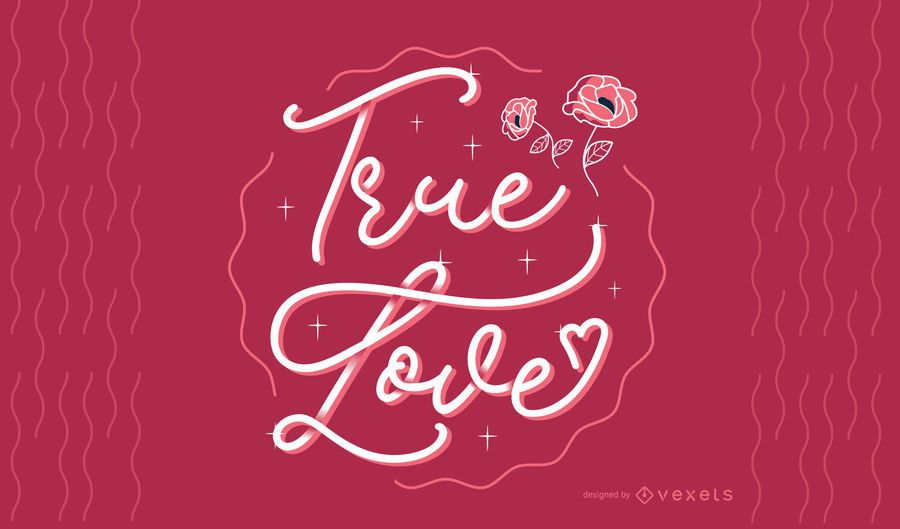Design de letras de amor verdadeiro