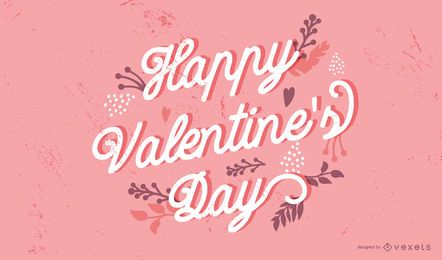 Feliz día de San Valentín diseño de letras