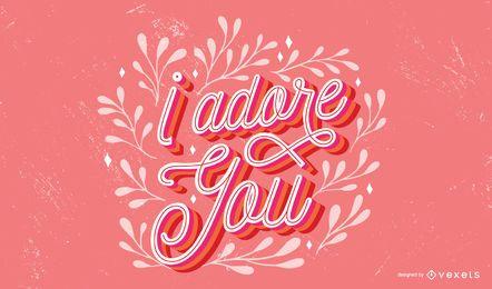 Adoro você Lettering Quote Design
