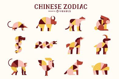 Chinese Zodiac Geometric Animal Pack