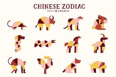 Paquete de animales geométricos del zodiaco chino