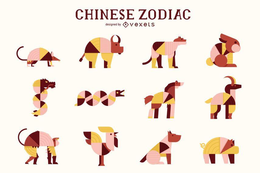 Chinese Zodiac Geometric Animal Pack