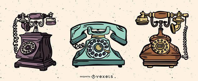Paquete de ilustración de teléfono vintage