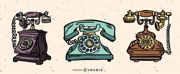 Weinlese-Telefon-Illustrations-Satz