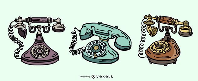 Antikes Telefon-Illustrations-Set