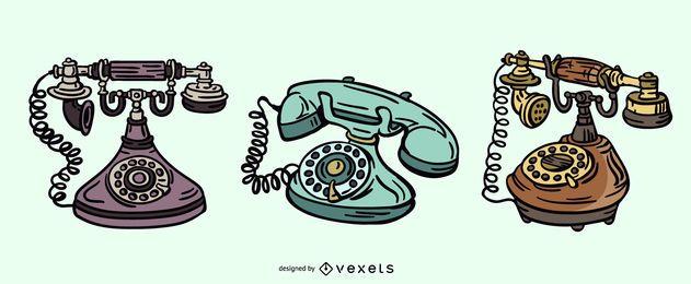 Conjunto de ilustración de teléfono antiguo
