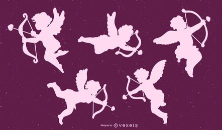 Conjunto de Design de silhueta de Cupido
