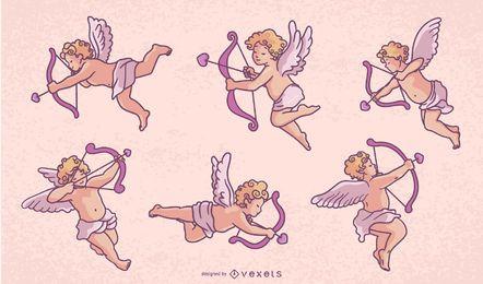 Paquete de diseño de personajes de Cupido