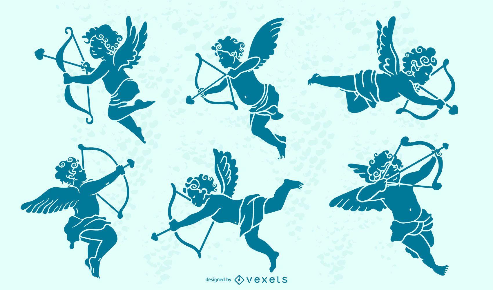 Conjunto de silueta de personaje de Cupido