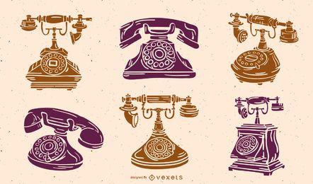 Pacote de silhueta de telefone antigo