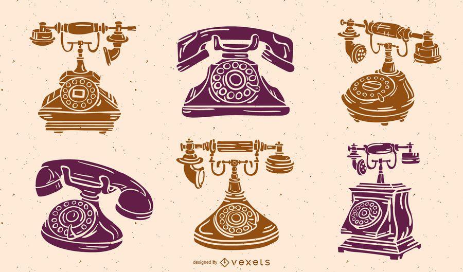 Paquete de silueta de teléfono antiguo