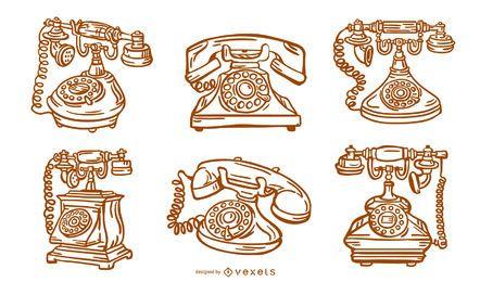 Paquete de diseño de trazo de teléfono antiguo