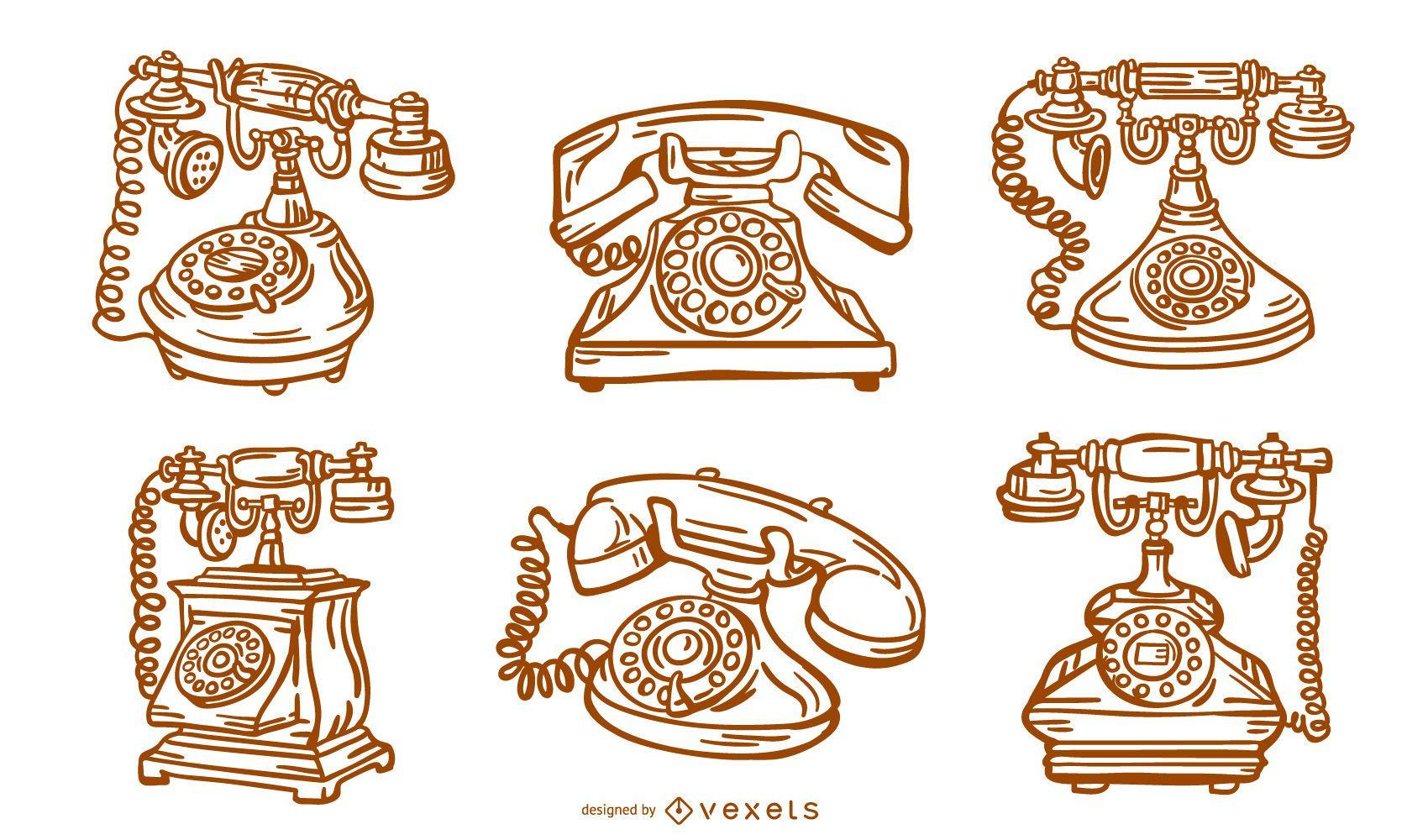 Antique Phone Stroke Design Pack